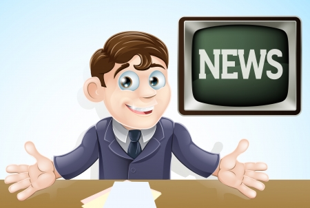 An illustration of a cartoon television news anchor man presenting the TV news