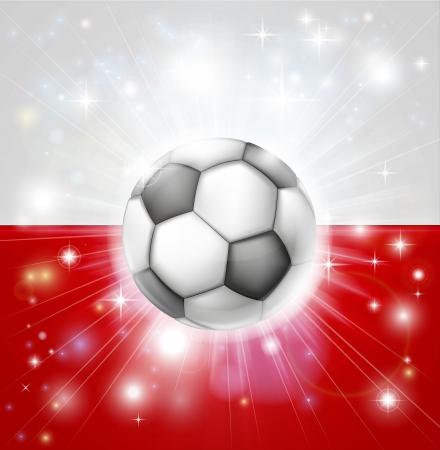 Drapeau de la Pologne de football fond avec éclat pyrotechnique ou la lumière et la bille de football de football dans le centre