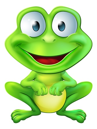 An illustration of a green cute frog character sitting and smiling
