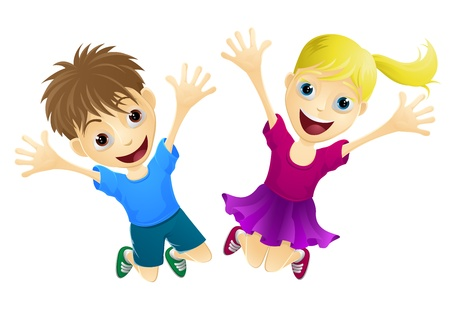 A cartoon of two happy children, a boy and girl, jumping for joy