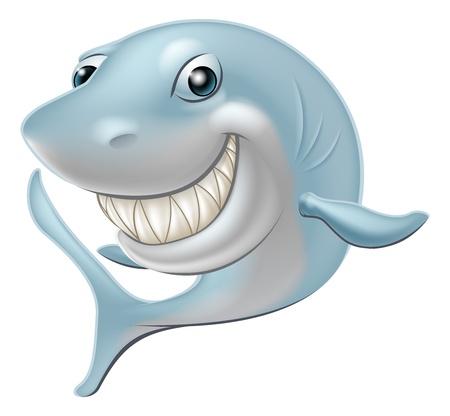 Una ilustración de una historieta Great White Shark personaje o mascota Ilustración de vector