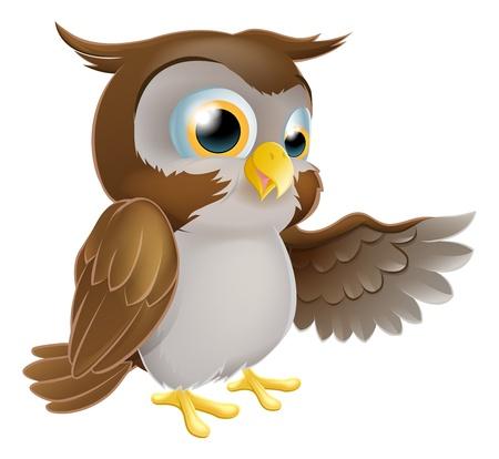 Una ilustración de un personaje de dibujos animados lindo búho señalar o mostrar algo con su ala