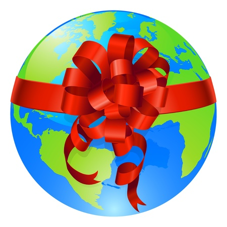 Illustration of a world globe with gift bow round it. Concept for opportunity or being given the world, or for the world being a precious gift. Illustration