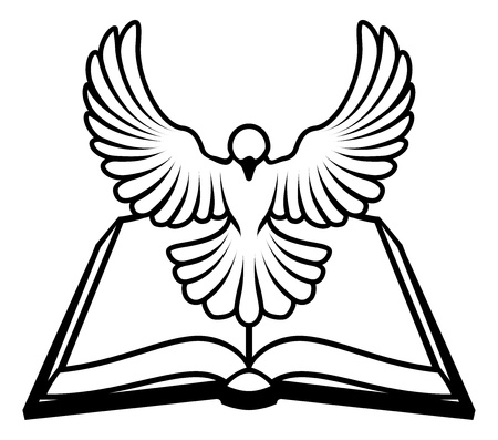 A Christian Bible dove concept, with a white dove representing the holy spirit flying out of the bible. Could refer to inerrant or inspired nature of the bible, or word of God coming to us through the bible. Векторная Иллюстрация