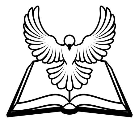Un cristiano bíblico concepto paloma, con una paloma blanca que representa el espíritu santo volando fuera de la Biblia. ¿Podría referirse a la naturaleza infalible o inspirado de la Biblia, o la palabra de Dios que viene a nosotros a través de la Biblia. Ilustración de vector