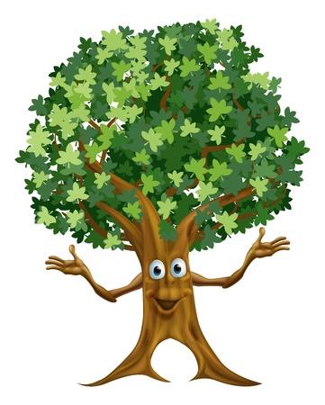 Illustrazione di un carattere amichevole albero cartone animato o mascotte