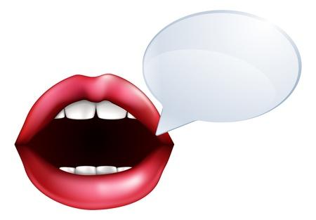 Een illustratie van open mond of lippen praten met een tekstballon voor de woorden