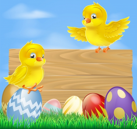 An illustration of cute little yellow cartoon Easter chicks and wooden sign