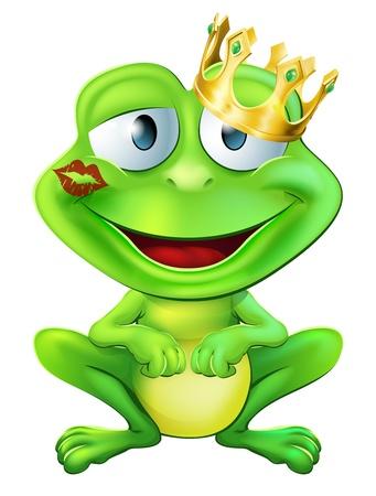 Eine Illustration eines cute frog Zeichentrickfigur trägt eine goldene Krone mit einem roten Lippenstift Marke auf den Lippen bilden einen Kuss