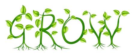 Het woord groeien gespeld met een plant of wijnstokken met bladeren groeien in de letters