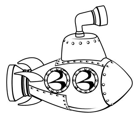 Illustration d'un sous-marin mignon de bande dessinée dans ses grandes lignes en noir et blanc