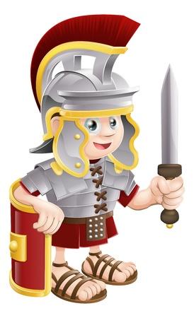 Illustrazione di un felice cute soldato romano che tiene una spada e uno scudo Vettoriali
