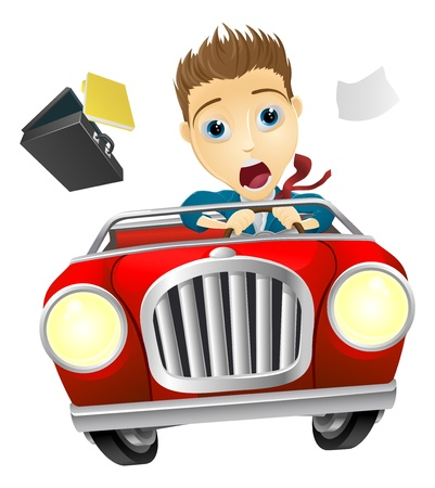 A cartoon businessman, scared driving fast in an out of control car