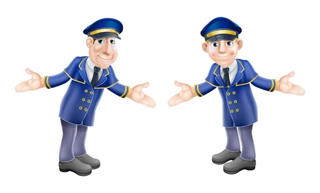 A cartoon illustration of two welcoming hotel or venue doormen or bellhops in their blue and gold uniforms