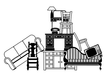 Illustration d'un tas de meubles pourrait être utilisé pour l'assurance habitation liée ou dégagement maison et déménagement