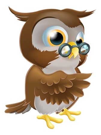 An illustration of a cute cartoon wise owl character pointing or showing something with his wing