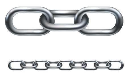 Metal chain links. In the vector version the illustration is arranged in layers to make it easier to extend to desired length.