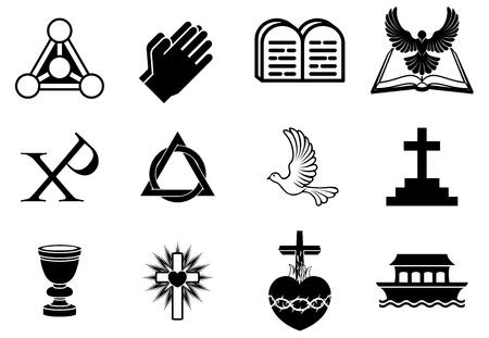 Een set van het christendom pictogrammen en symbolen, waaronder duif, Chi Ro, bidden handen, bijbel, drievuldigheid christogram, kruis, communie drinkbeker, ark en meer