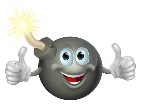Drawing of a cartoon cherry bomb man smiling and giving a double thumbs up