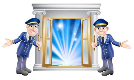 Een illustratie van twee VIP portiers tekens openhouden van een deur bij de ingang van een locatie of hotel
