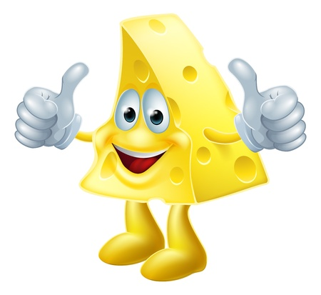 A drawing of a happy cartoon cheese man giving a double thumbs up