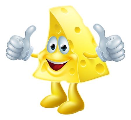 Een tekening van een gelukkig cartoon kaas man die een dubbele thumbs up