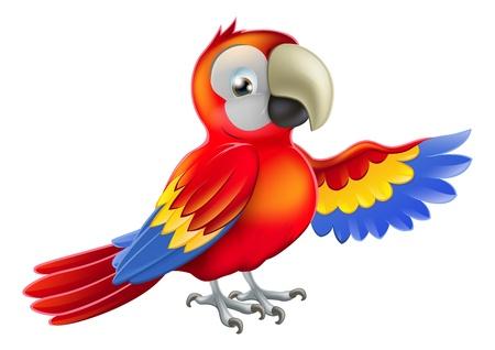 Un loro guacamayo rojo señalar o mostrar algo con su ala Ilustración de vector