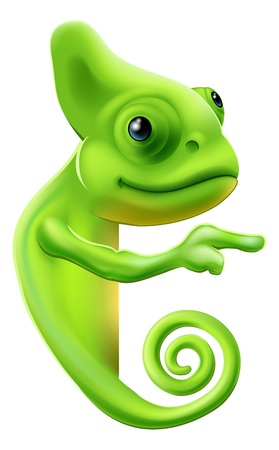 An illustration of a cute cartoon chameleon pointing round a sign or banner Stock Vector - 19198121