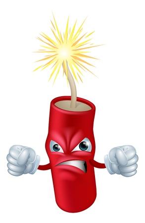 L'illustrazione di un arrabbiato petardo fumetto cercando o bastone di carattere dinamite o mascotte