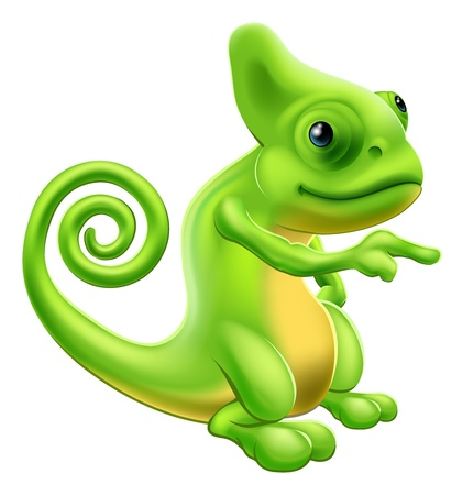 Illustration of a cartoon chameleon mascot standing and pointing Illustration