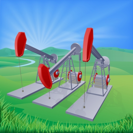 Illustration of oil well pumpjacks also known as nodding donkeys, horsehead pumps, dinosaurs or by various other names
