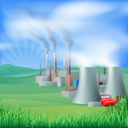 Illustration of a power plant generating power and electricity. Could be fossil fuel or other plant with chimneys and cooling towers, e.g. geothermal