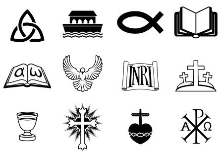 Un conjunto de iconos relacionados con el cristianismo y temas cristianos Ilustración de vector