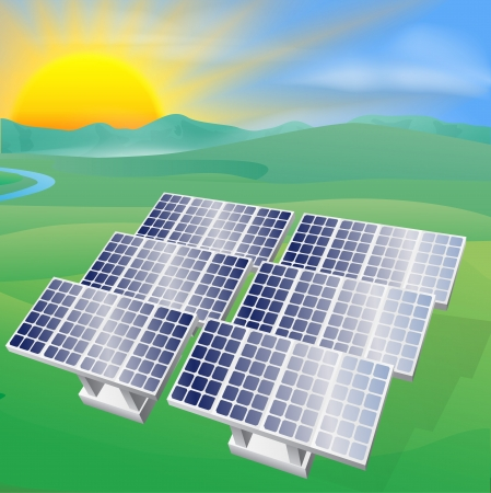 Illustration of a solar panel photovoltaic cells generating power and electricity
