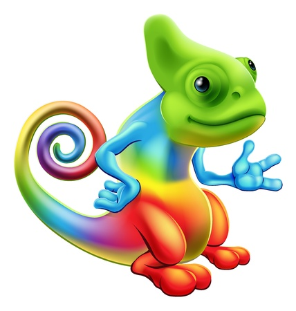 Illustratie van een cartoon regenboog kameleon mascotte staan met zijn hand uit