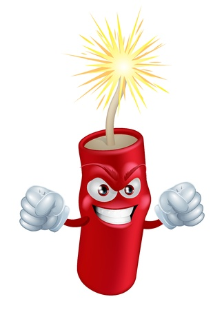 An illustration of mean or angry looking cartoon firecracker or firework character with a lit fuse