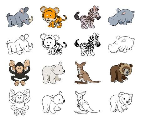 Een set van cartoon wilde dieren illustraties Kleur en zwart een wit overzicht versies