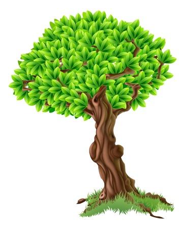 Een illustratie van een fel groene boom met gras rond de stam Stock Illustratie