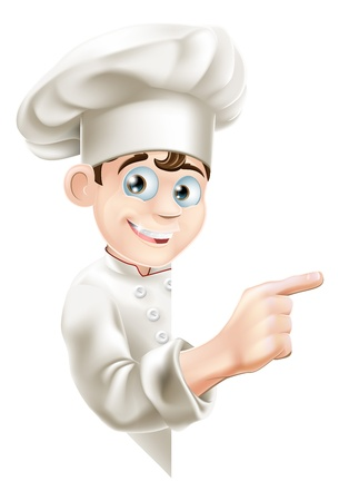 Illustration of a cartoon chef mascot pointing at your message or banner