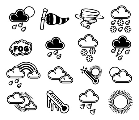A set of monochrome weather icons like those used in forecasts Ilustrace