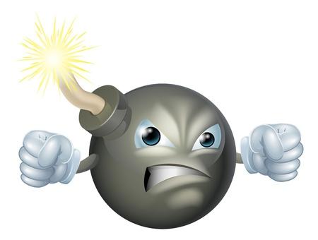 Una ilustración de un personaje en busca bomba de dibujos animados enojado