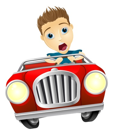 Cartoon young man looking very scared driving fast in convertible sports car