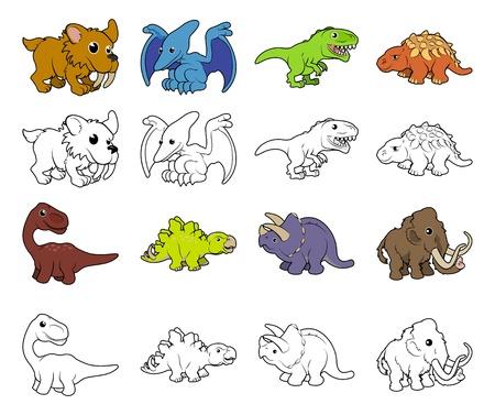 Un conjunto de dibujos animados de animales prehistóricos y las ilustraciones de dinosaurios. Color negro y una versiones de los perfiles blancos.
