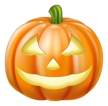 Un dibujo de un tallado linterna de calabaza de Halloween naranja