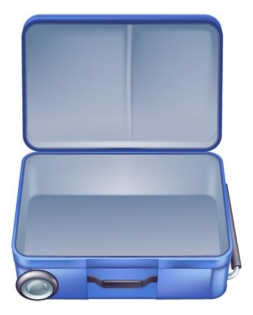 Una ilustración de una maleta vacía lista para b embalado para unas vacaciones de verano o vacaciones