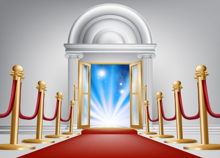 A red carpet entrance with velvet rope and imposing marble doorway leading into an exciting venue Illustration