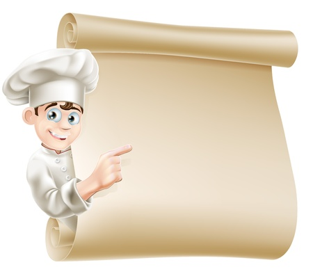 Illustration of a happy chef character pointing at a scroll maybe with a menu on it Illustration
