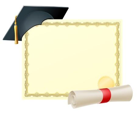 Certificato con copia-spazio e scorrere diploma e malta di laurea cappuccio bordo