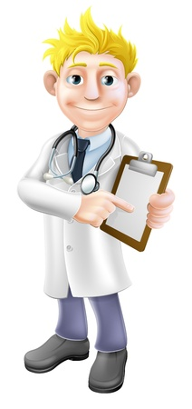 Illustration of a young cartoon doctor holding a clipboard and pointing at it