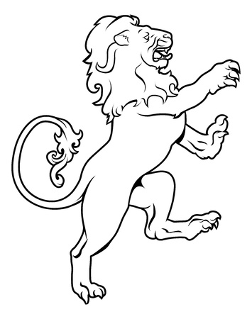 Illustration of a heraldic lion on its hind legs, like those found on a crest emblem or coat of arms on a shield Illustration